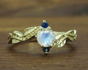 Moonstone Leaf Engagement Ring, Leaf Engagement Ring, Nature Engagement Ring, Leaves Ring, Moonstone ring, Yellow Gold Moonstone Ring