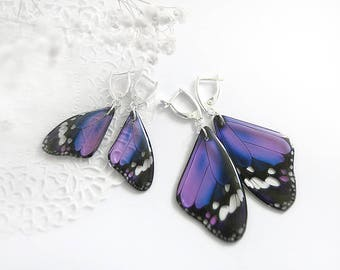 Wedding earrings|for|bridesmaid gift Bridal party Elegant jewelry|for|women gift Present|for|her Purple earrings set Butterfly jewelry wife