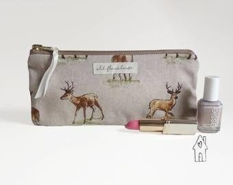 Deer Pencil Case, Stag Makeup Bag, Brush Holder, Zipper Pencil Pouch, Cosmetics Bag, Purse Organizer, Mini Make Up Bag, Old Flour House