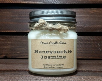 8oz Honeysuckle Jasmine Soy Candle - Floral Candle - Mason Jar Candle - Mother's Day Gift - Bridesmaid Candle - Aromatherapy - Birthday Gift