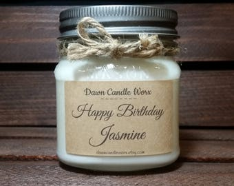 Personalized Candles - 8oz Mason Jar Candles - Sister Birthday Gift - Soy Candles - Mom Birthday - Friend Birthday  - Birthday Candle