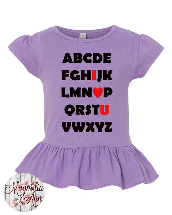 Alphabet I Love You, Heart, Valentines Day, Toddler, Little Girls Ruffle Tee in 4 Colors in Sizes 2T-Girls Large