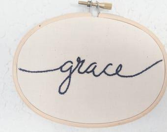Grace - Hoop Art - Hand Embroidery
