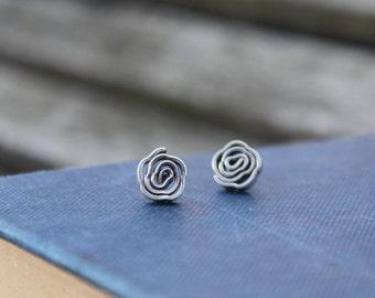 Bohemian earrings Flower earrings Silver stud earrings Boho jewellery Gypsy earrings Handmade silver earring studs Gift for her