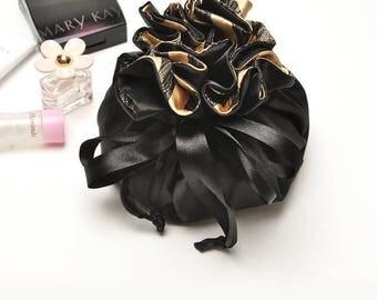 black satin ruffles inside stripe pattern travel makeup jewlery organizer drawstring folded cosmetic bag storage pouch