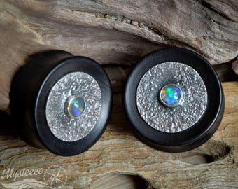"""Ear Plugs gauges opal 1.18"""" 30mm gauges Free Shipping - Ebony Wood Silver and Opal Ear Plugs - Double Flared - 1 Pair - Handmade"""