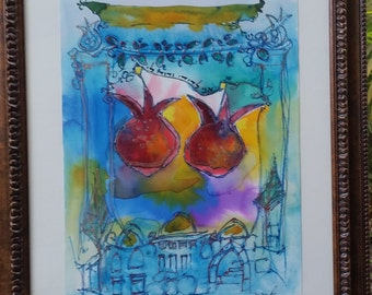 a pair of grenades/ for lovers/ wedding gift/ jewish art/happy art/Jerusalem andpomegrantes