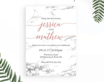 Marble Wedding Invitation / Modern Wedding Invitation Templates / Printable Wedding Invitations / Simple Wedding Invitations / Minimalist