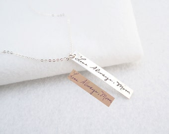 30% OFF  Signature Bar Necklace - Your Actual Handwriting Bar Necklace - Engraved Handwriting Jewelry - Personalized Gift - Mother Gift