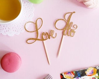 """Set of 12 """"Love"""" & """"I do"""" cupcake toppers, celebration, bridal shower, engagement party, anniversary, wedding"""
