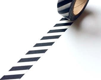Black and White Diagonal Stripe Washi Tape Monochrome