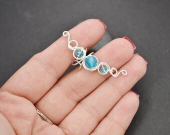 Fake ear cuff Ear cuff earrings Blue agate Earrings Ear cuff non pierced Small ear cuff Simple ear cuff Minimal earrings Gift for her