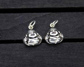 1PC Sterling Silver Buddha Charm Pendant,Happy Buddha Charm Pendant