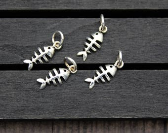 4pcs- Sterling Silver Fish charm, Sterling silver fish pendant, Silver fish Fish Bone, Sterling Silver Fish Bone charm