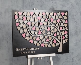Wedding Guest Book Alternative 3D guest book Wood Rustic wedding guestbook Unique guest book Pink and Gray Wedding Ideas Tree of Hearts