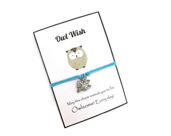 Wish bracelet Owl Charm bracelet Make a wish bracelet Wish bracelet Friendship bracelet String bracelet Best friend gift Gifts for her