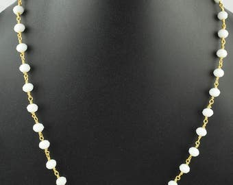 1 Pc White Moonstone Hydro Faceted Wire Wrapped Necklace Chain,Link Chain Necklace ,Beaded Necklace Chain,Rosary Chain,Free Shipping, LRC33