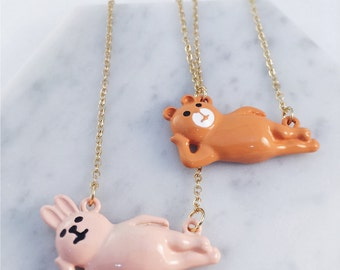 Lazy bunny necklace; lazy bear necklace; relaxing necklace; rabbit necklace; bear necklace