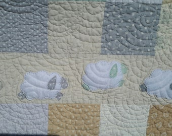 Baby Girl Quilt, Gray Yellow Mint Green Cream White, Fleecy Sheep quilt, Soft Neutral Colors, Flannel Fabric back, Unique Baby Gift,Handmade