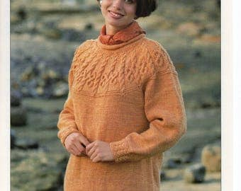 Knitting Pattern, Patons Aran Sweater, To fit 32-42 inches, Womans aran pattern, cable pattern