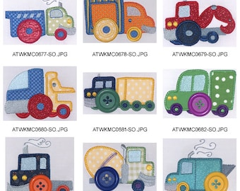 Button-Trucks-Applique. ( 10/20 Machine Embroidery Designs from ATW )