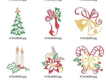 Outline-Christmas-5x7 ( 10 Machine Embroidery Designs from ATW )  XYZ17B