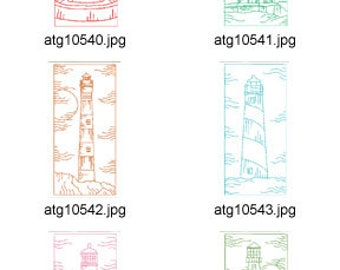 Lighthouse-Scenes-Redwork-5x7  ( 10 Machine Embroidery Designs from ATW ) XYZ17E
