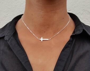 Sideways cross necklace, horizontal cross, Cross choker, tiny cross necklace, dainty cross, side cross necklace, sideways necklace, baptism