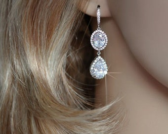 Gorgeous Handmade Cubic Zirconia CZ Dangle Bridal Earrings, Bridal, Wedding (Sparkle-2010)