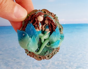 Sirens in fimo polymer clay, mom and daughter-mom and daughter mermaids