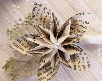 Book Paper Origami Star flower Buttonhole/Corsage with Dried Gypsophila