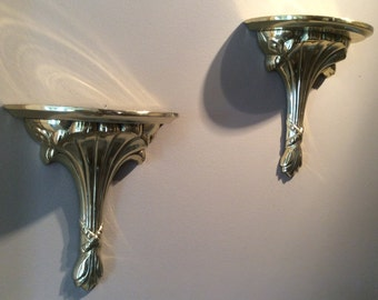 Set of 2 Solid Brass Sconces by Hosley; Vintage Brass Wall Pedestals