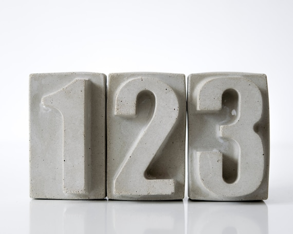 Large Concrete Numbers Gold color Bronze colour Cooper