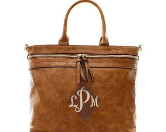 Monogrammed Zippered Purse, personalized handbag in Camel
