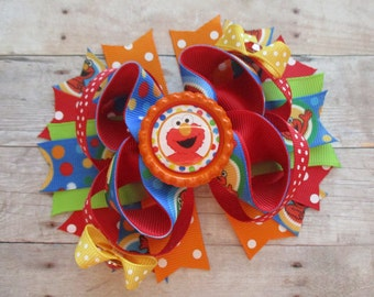 Elmo Hair Bow, Elmo Boutique Hair Bow,  Sesame Street Hair Bow, Elmo Sesame Street Hair Bow, Elmo Birthday, Elmo