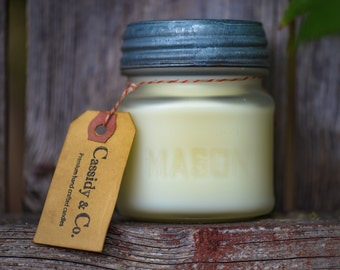 Frosted Mason Jar Candle. Organic coconut wax candle, Organic wax, vintage candle, vintage mason jar, antique candle.