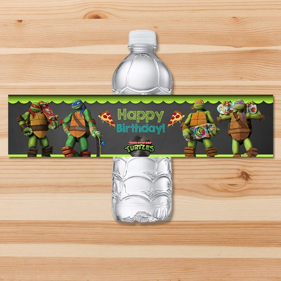 Teenage Mutant Ninja Turtles Drink Label - Green Chalkboard - Ninja Turtle Water Bottle Label - Ninja Turtle Party - Ninja Turtles Printable