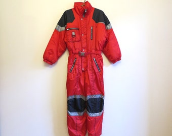 Vintage 90s One Piece Ski Suit Red Snowsuit Hipster Snow Pants Outdoor Winter Wear Snow Gear Jumpsuit Petite Small Size