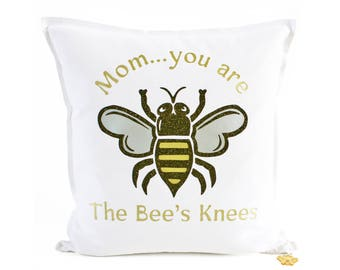 Mothers Day White Throw Pillow - Bees Knees - Personalized Message - Bumble Bee Pillow - Mom Gift Mother Gift - Gift For Mom - Brit and Bee