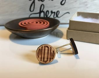 Monogram Cufflinks   Personalized Cufflinks   Wood Cuff Links   Anniversary Gift for Him   Groomsmen Cufflinks   Custom Cufflinks   Groom