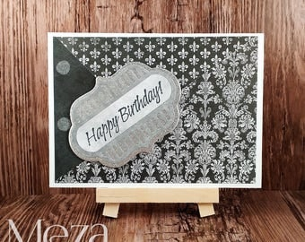 Handmade Happy Birthday Card - Black/Grey and Silver