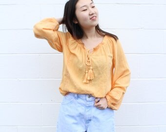 Apricot Peasant Blouse Off the Shoulder Top Offtheshoulder Tops