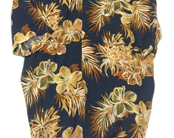 OP Ocean Pacific Floral Patterned Hawaiian Blue Shirt - Vintage (1990s)