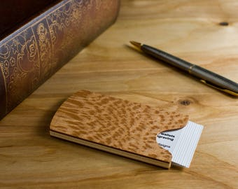 Handmade Wooden Business Card Holder Sycamore