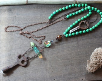 Antique Key Necklace Quartz Crystal Pendant Luxe Boho Dark Copper Beaded Long Green Statement Necklace