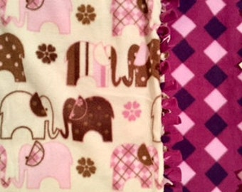 Pink&Purple Elephant Dreams! Handmade fleece blanket designed by JAX. An elephant themed throw that makes a custom gift for any occasion!