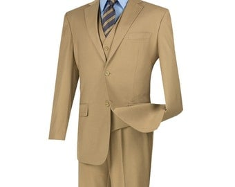 Classic-fit men's suit 3 piece suit 2 bottons solid khaki suits new with tag