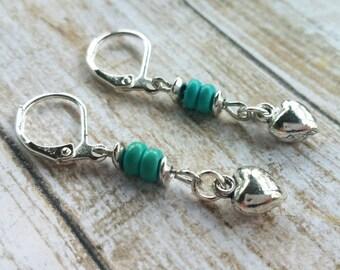 Turquoise Bead Earrings / Heart Earrings / Boho Earrings / Turquoise Earrings / Silver Earrings