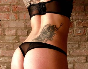 Lingerie, panty style thong, string, panties, mesh and Black Lace. Made hands. Custom. Montreal, Quebec