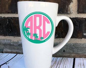 Palm Tree Monogram Decal - Palm Tree Monogram Yeti Decal - Beach Monogram Car Decal - Beach Yeti Decal - Monogram Tumbler Decal